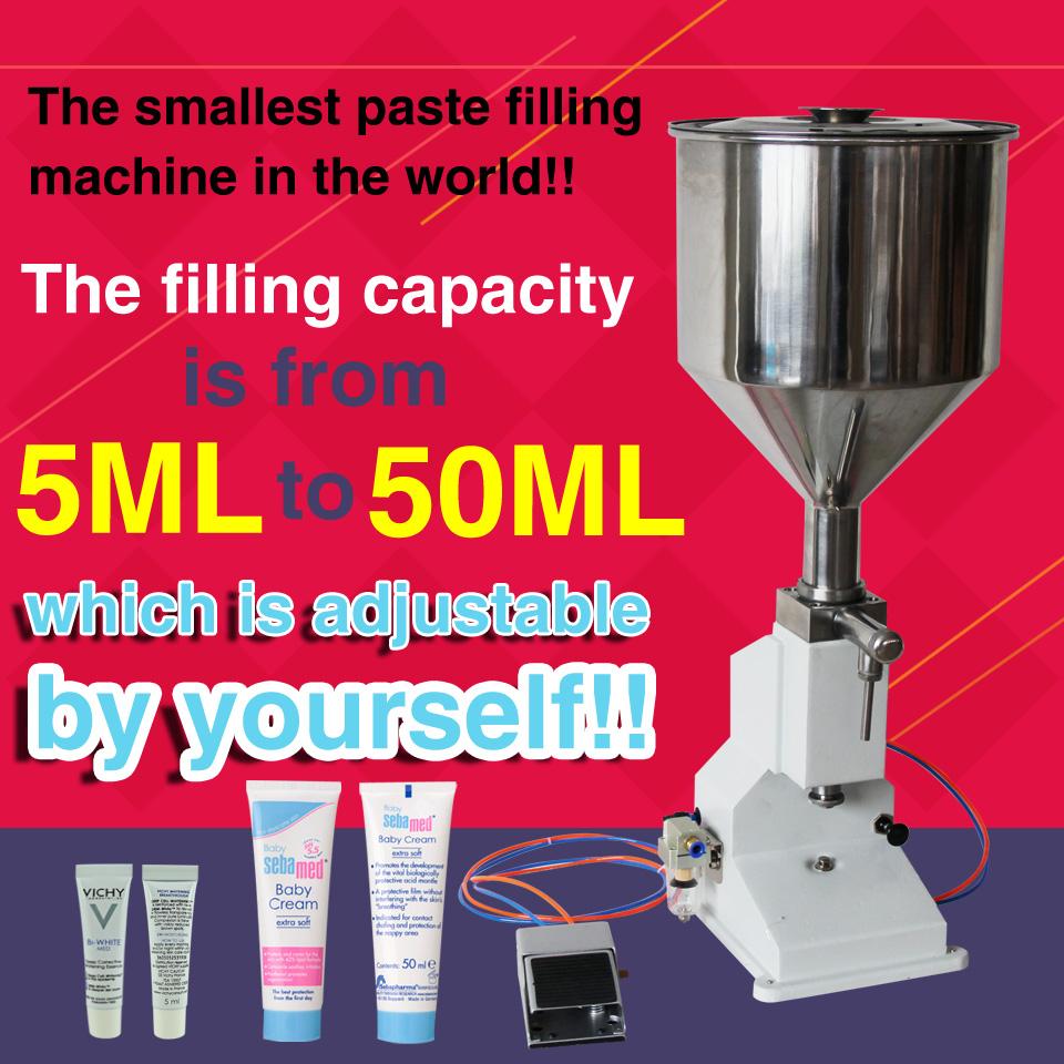 with capper,pneumatic single nozzle liquid cream sauce filling machine 5ML-50ML