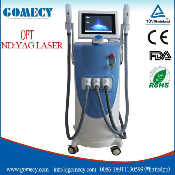 CE approved Elight IPL RF Nd yag laser 3 in 1 multifunction beauty machine / new e light ipl rf nd y