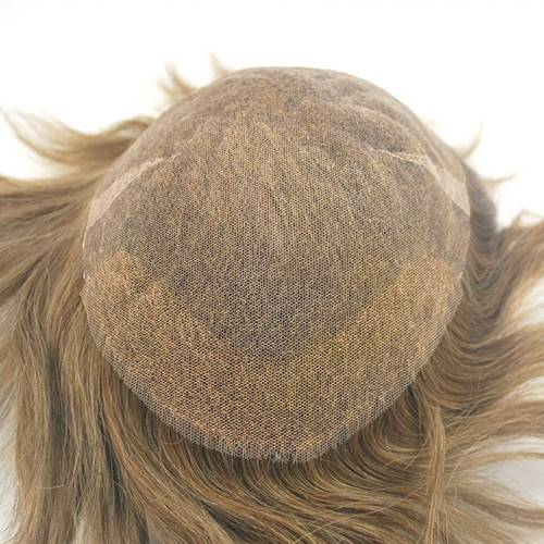 Hair replacement Swiss lace #6 light brown 100% real hair Hairpiece mens toupee