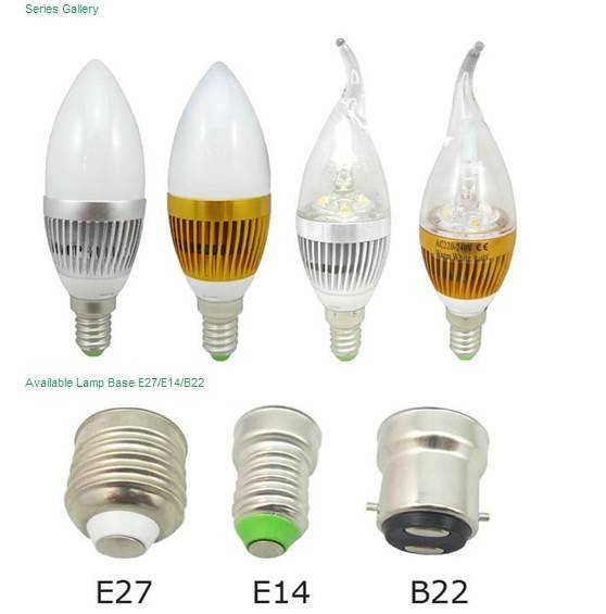 E14/E27 LED candle lights 3W replacing traditional incandescent bulbs low power
