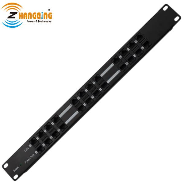 12 port passive power over ethernet POE injector panel rack mount