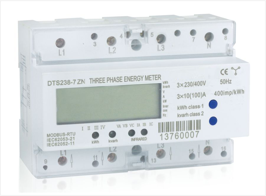 Three phase din rail multi-function energy meter, Type DT(S)S238-7 ZN