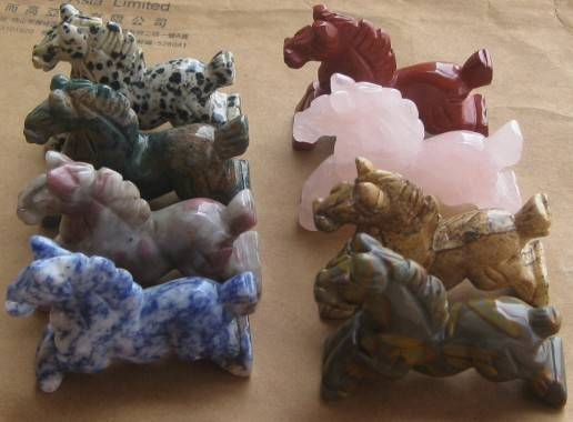 highly polished natural gemstone horse statues
