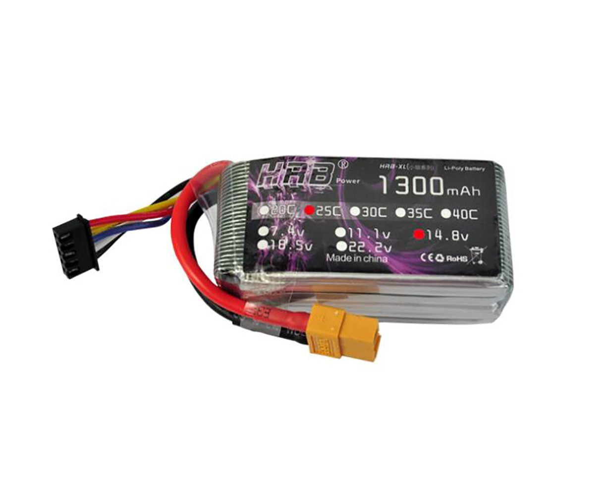 HRB 2Packs 4S 14.8v 1300mAh 25c RC Lipo Battery with xt60 Plug for RC Evader BX Car Truck