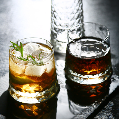Round bottom diamond-cut cool whiskey glasses