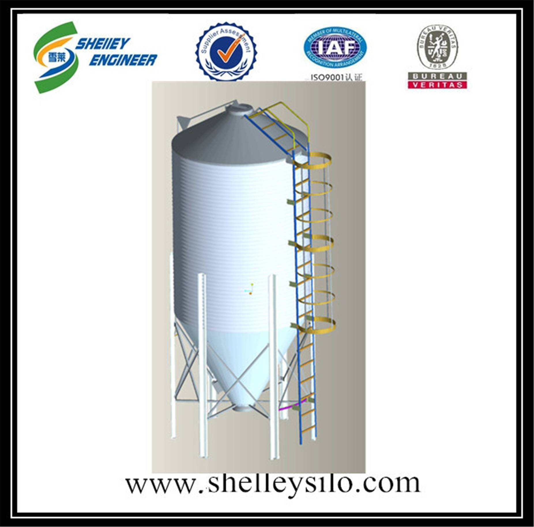 conical bottom steel grain silo 50t