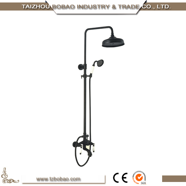 Pretty Design Wall Mounted Antique Brass Hand Shower with Bathtub Faucet