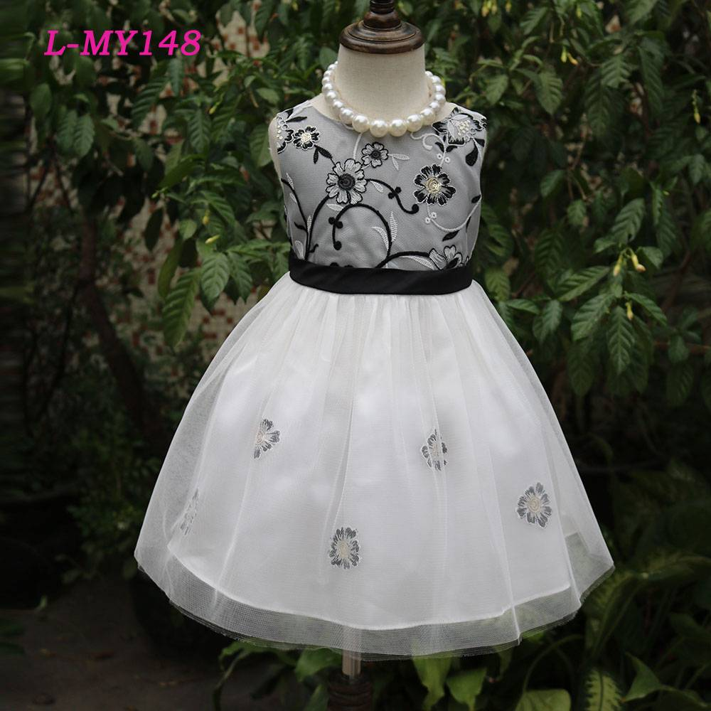 Hand made embroidered flowers formal dress 2 year old girl wear pretty princess dresses