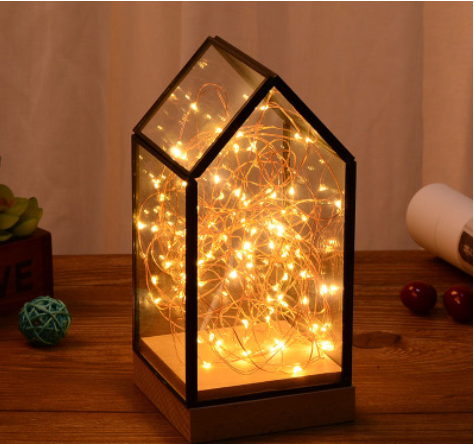 Fire tree and silver flower lamp, glass cover lamp, bedside table night lamp, LED decorative Christm
