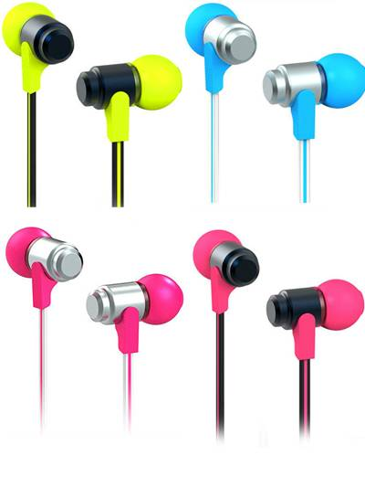 X3 MU11 High Quality Flat Cable Metal Earphones For iPod MP3 6 Colors Free Fedex Shipping