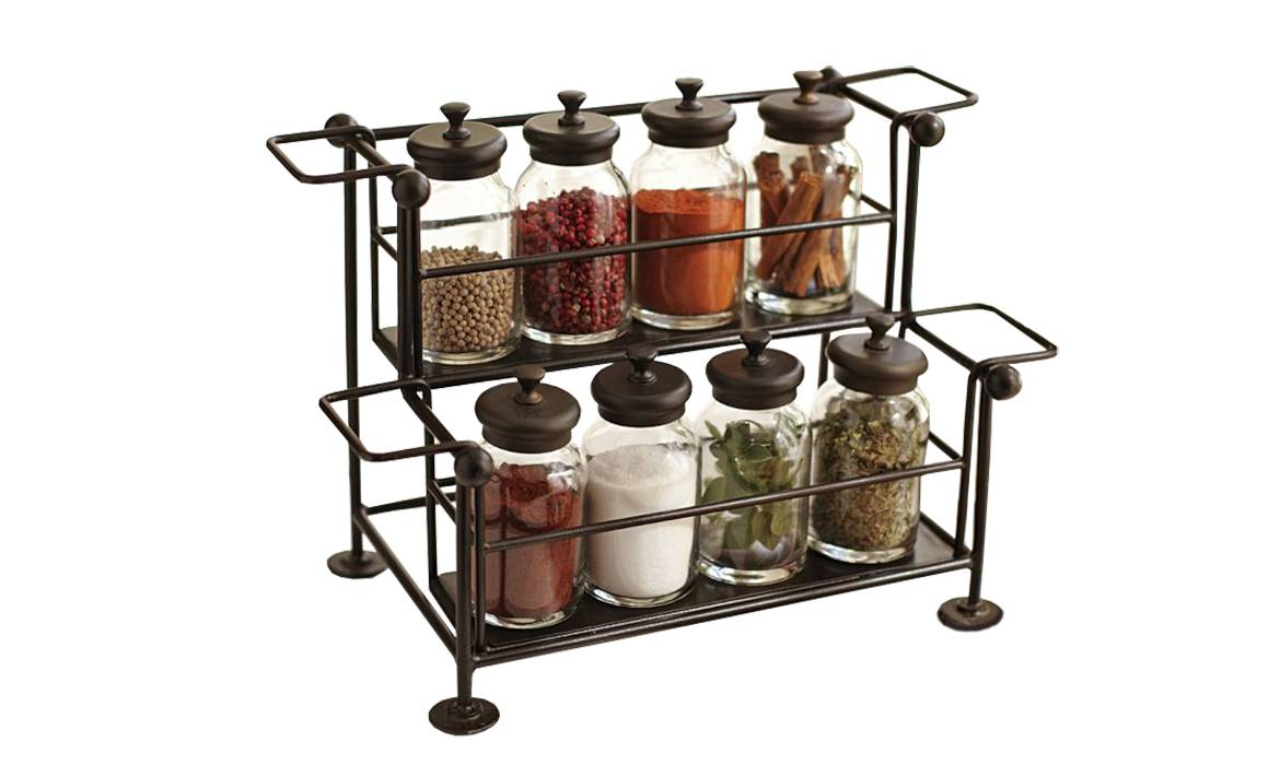 Spice Rack, 2 Shelves, Metal Wire Spice Holder