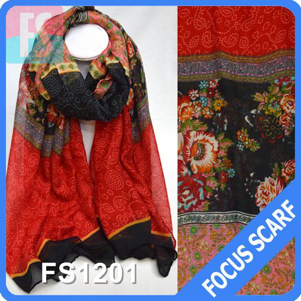 2014 Fashion flower printed voile scarf for women