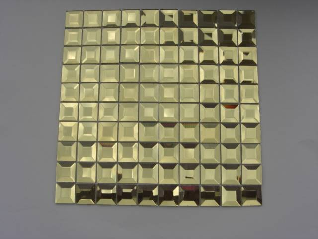 beveled mirror  glass mosaic tiles decorate the wall