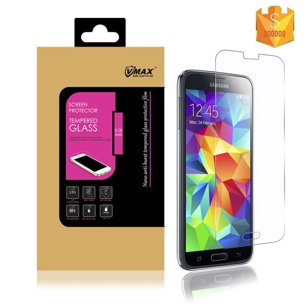 Brand VMAX high clear 0.3mm 2.5D Asahi Anti-explosion Tempered Glass screen protector for Samsung S5