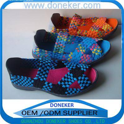 2016 Latest fashion handmade elastic woven shoes