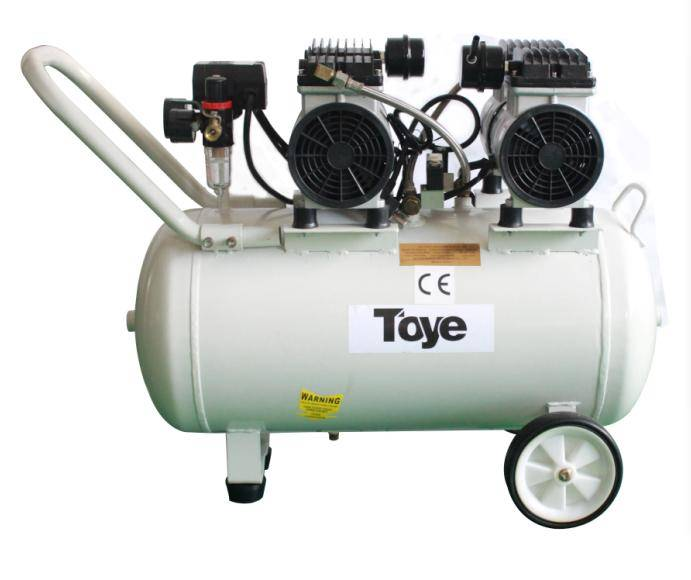 Medical Equipment Silent Oilless Air Compressor 65L With Metal Pipe 2.2HP 4 Dental Chairs