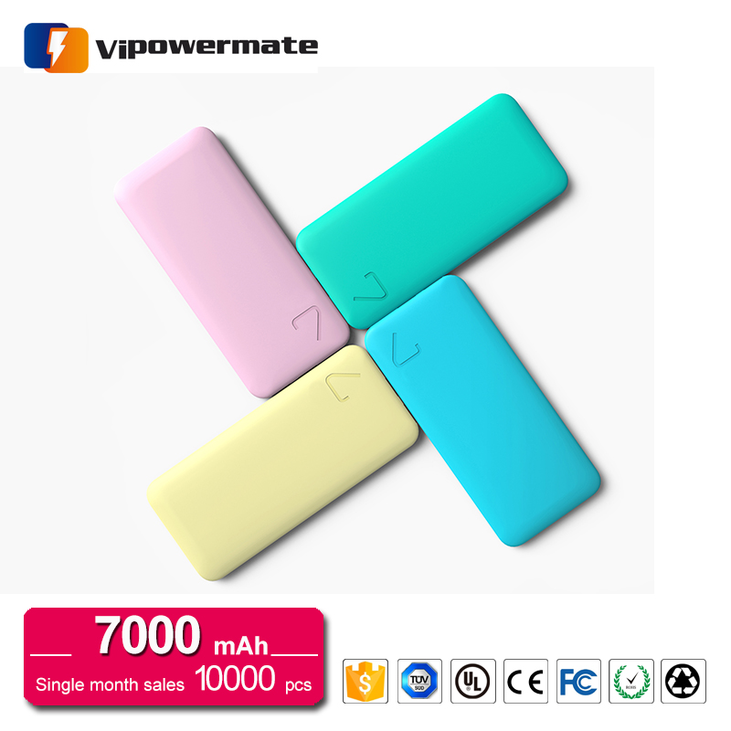 Hot selling colourful dual usb outputs external 7000mAh slim powerbank
