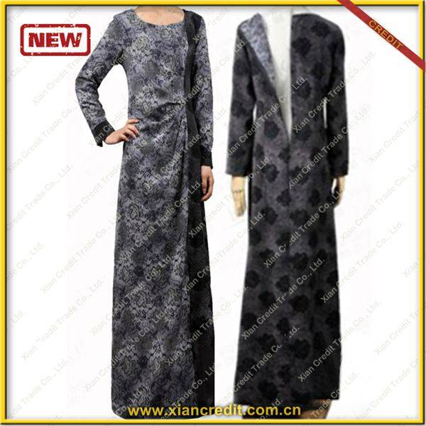 2014 Newest muslim women abaya made of Two face cotton tencel prints  P002-2