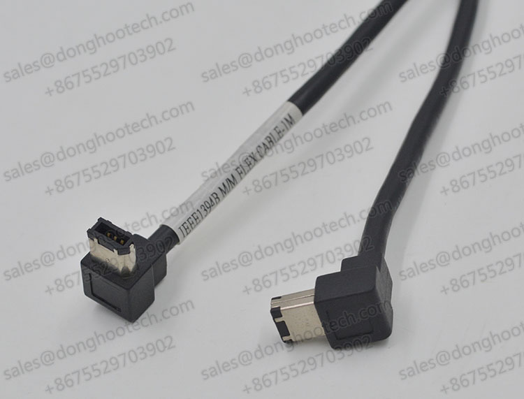 Full Shielded 90 Degree Angled IEEE 1394A Cables Hi-Flex Firewire 6P Short Cable 0.3m 1.0ft