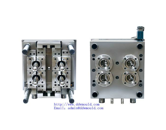 DDW Pneumatic 4 cavity valve gate self-locking PET Jar Injection Mold for Mineral water Packing