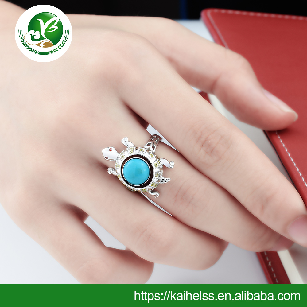 Factory sale silver turquoise rings natural assured quality