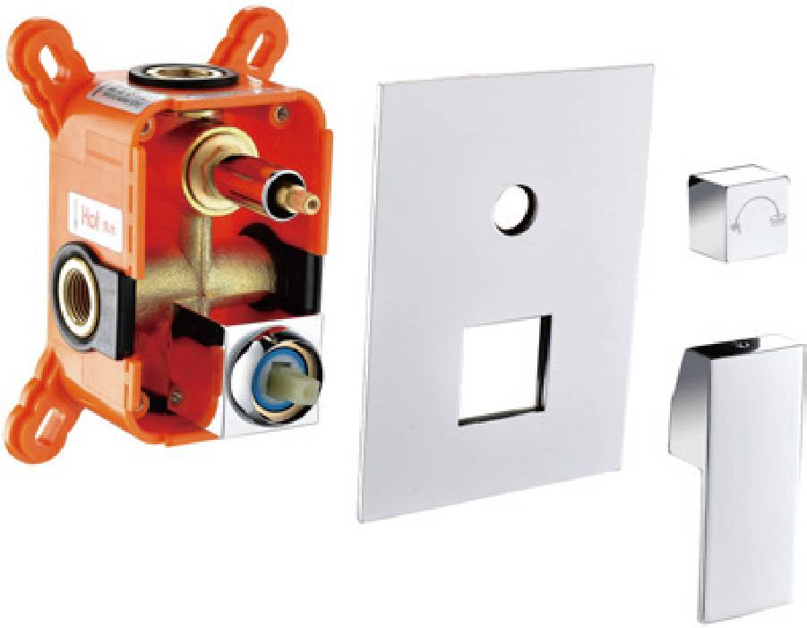 Contemporary chrome brass wall mounted 2 ways concealed valve