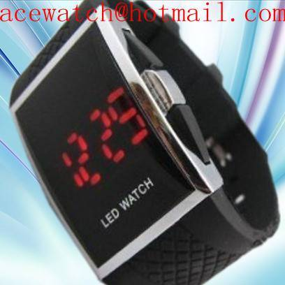 Fashion LED Watch Black Belt with Red Strip