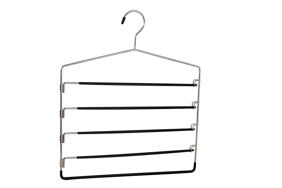 Black pvc coated metal multi pant hangers with swing arms