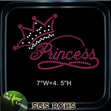 Beautiful princess crown hotfix rhinestone motif for t-shirt