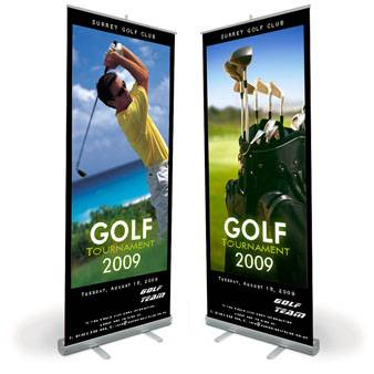 Standing scrolling roll up banner stand