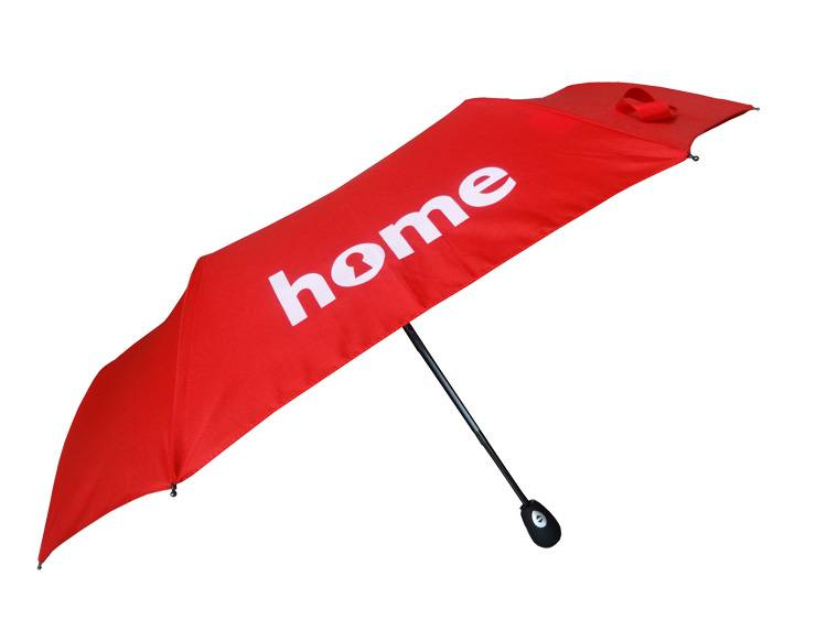 Red color logo Print fodable automatic travel umbrella