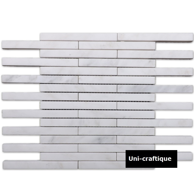 Long strip white Marble mosaic tiles
