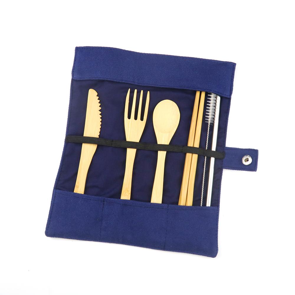 Bamboo Flatware Camping Cutlery Set