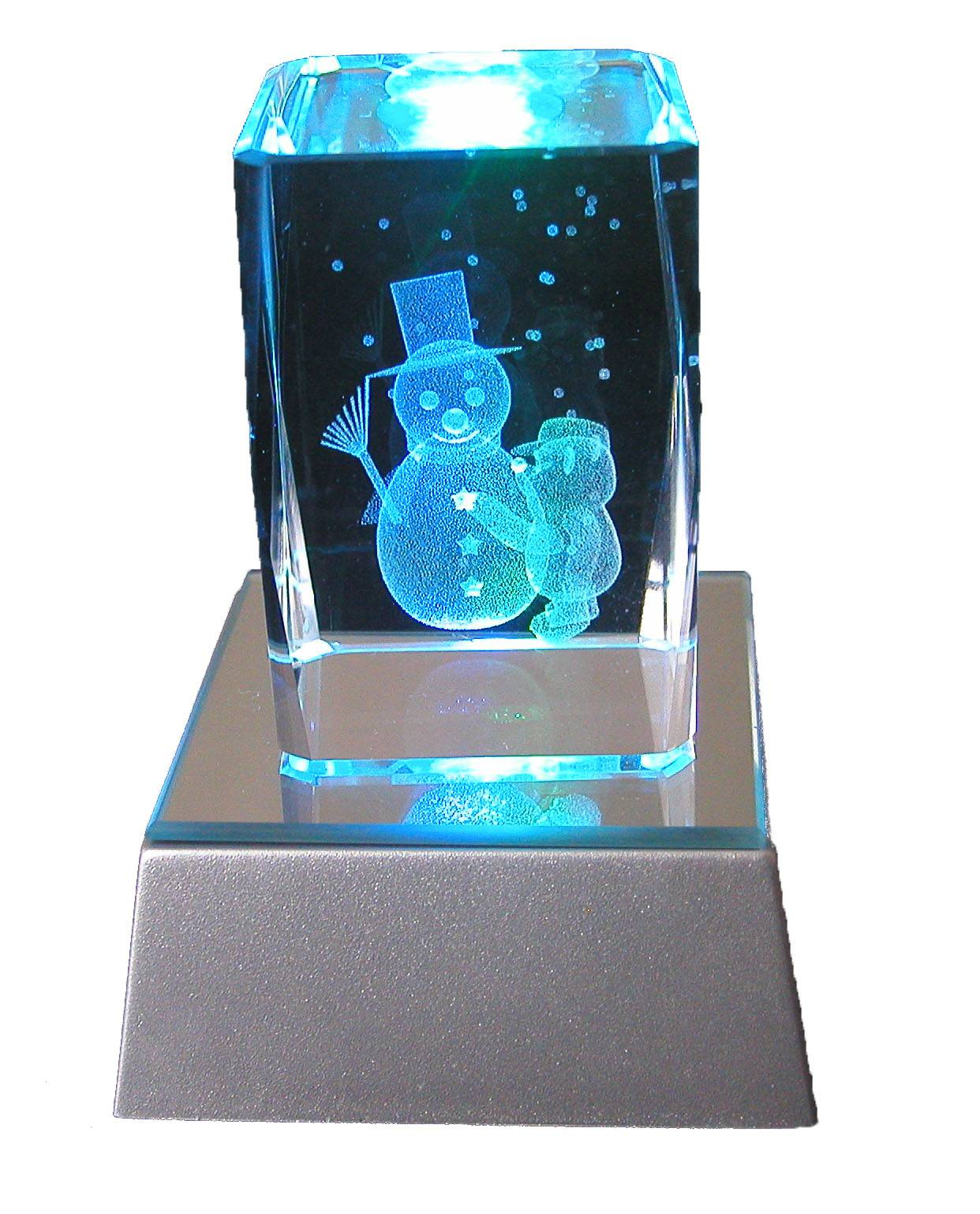 3d laser etched Christmas crystal craft