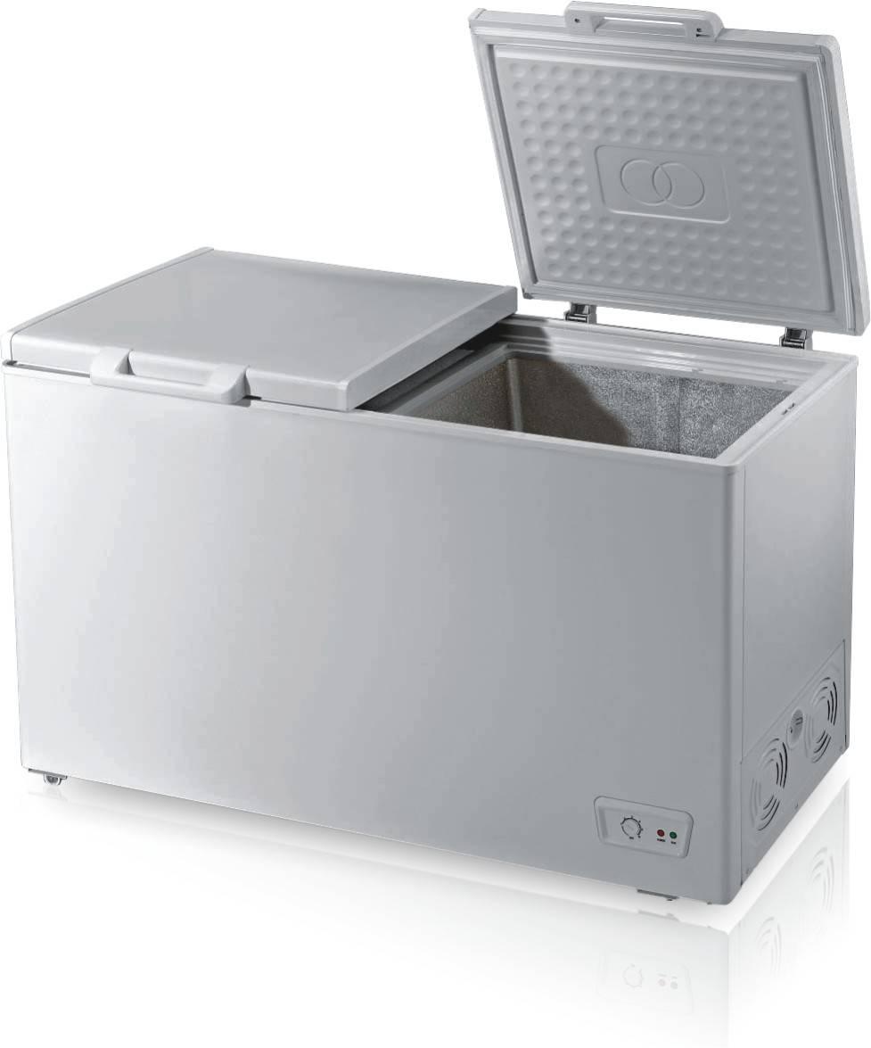 250L double door & double compartments chest freezer