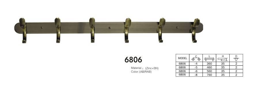 Large antique brass coat hooks fashion antique rustic hook bronze 6806