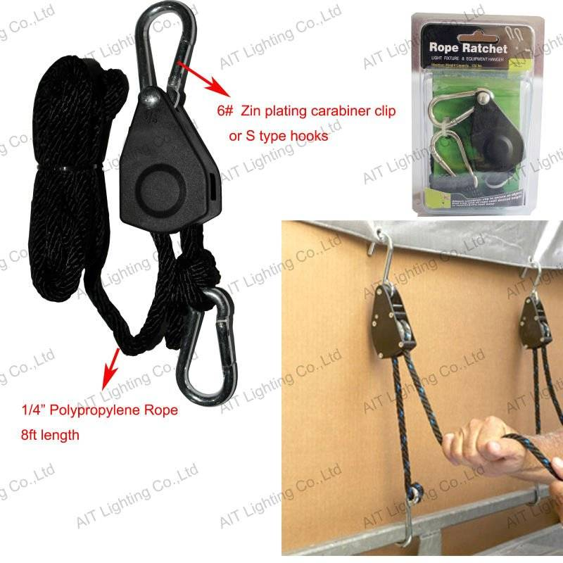 1/4inch 8ft polypropylene rope 150LBS with Carabiner Hooks used in roof rack rope ratchet tie down