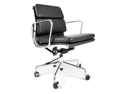Eames Style Soft Pad Management Chair in Leather (Low-Back)