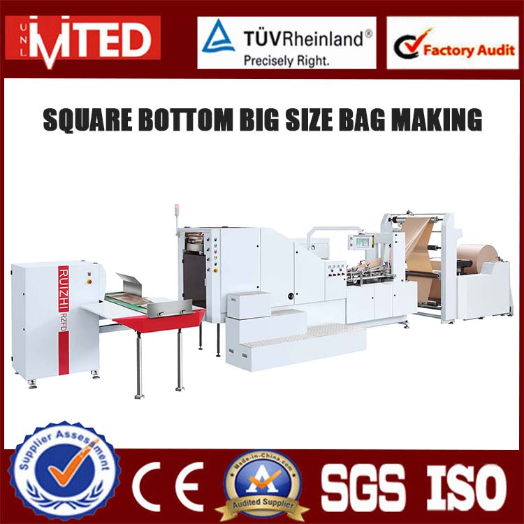 RZFD-280 Handle Available Paper Packaging Machinery Shopping Paper Bag Machine For Sale