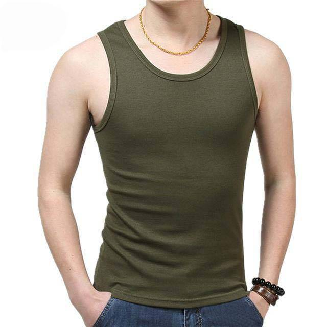 Men's round neck plain olive green tank top