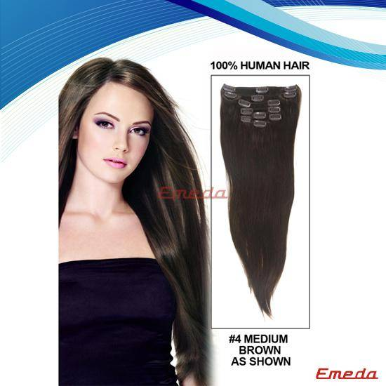 Indian human hair clip in human hair extensions large stock nice grade