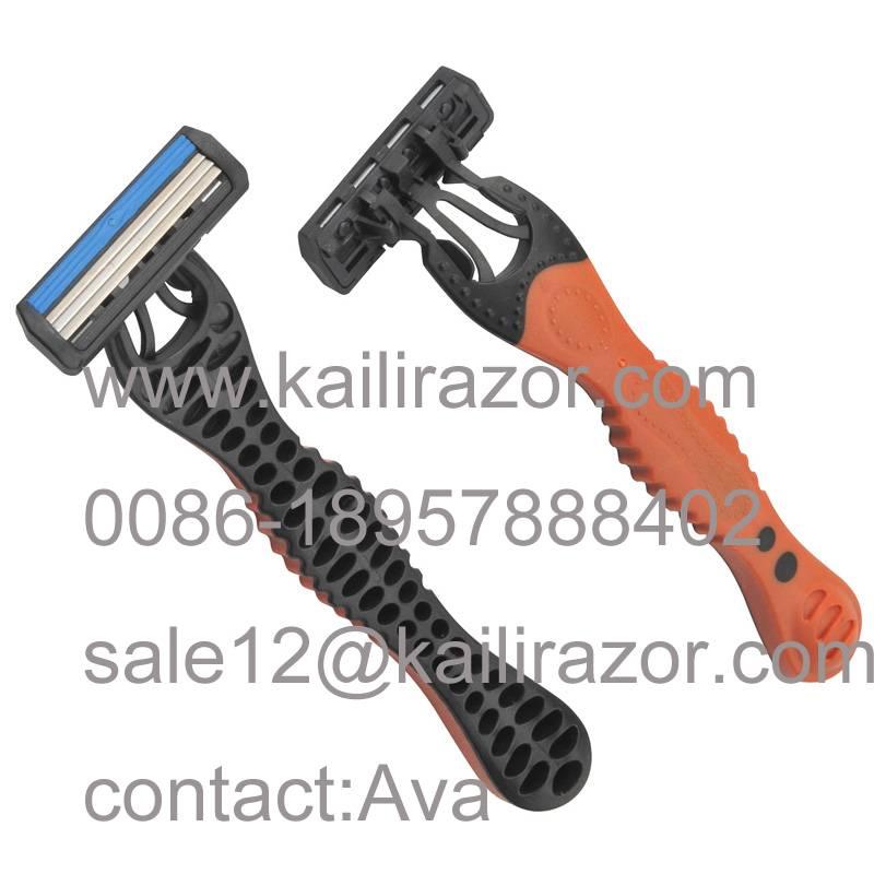 KL-X341L three blade rubber handle disposable shaving razor