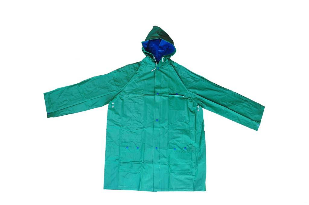 R-1057-1 GREEN AND BLUE REVERSIBLE PVC VINYL RAIN BEST WATERPROOF JACKET