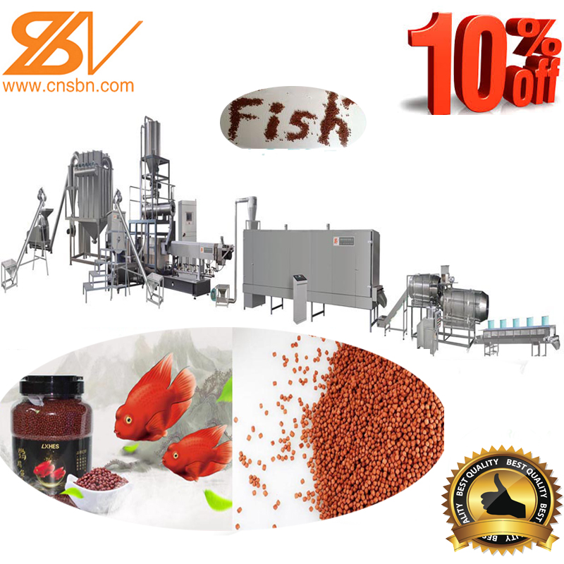 100kg/h-6000kg/h fully automatic aquatic fish feed pellet extruder machine production line
