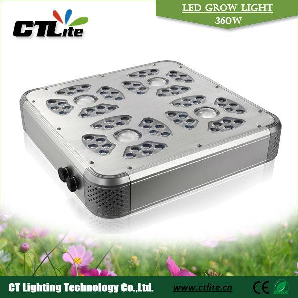 Smart dimming 360w LED grow lighting with 40w supper power +3w high LEDs power