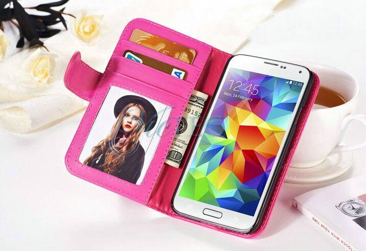 Multifunctional plain card slots flip cellphone case for samsung s4