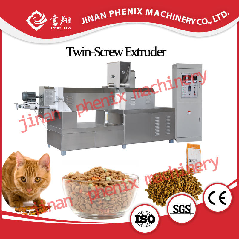 dry pet cat food pellet extruder making machine