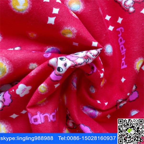 factory offer cheap cvc printed flannel fabric