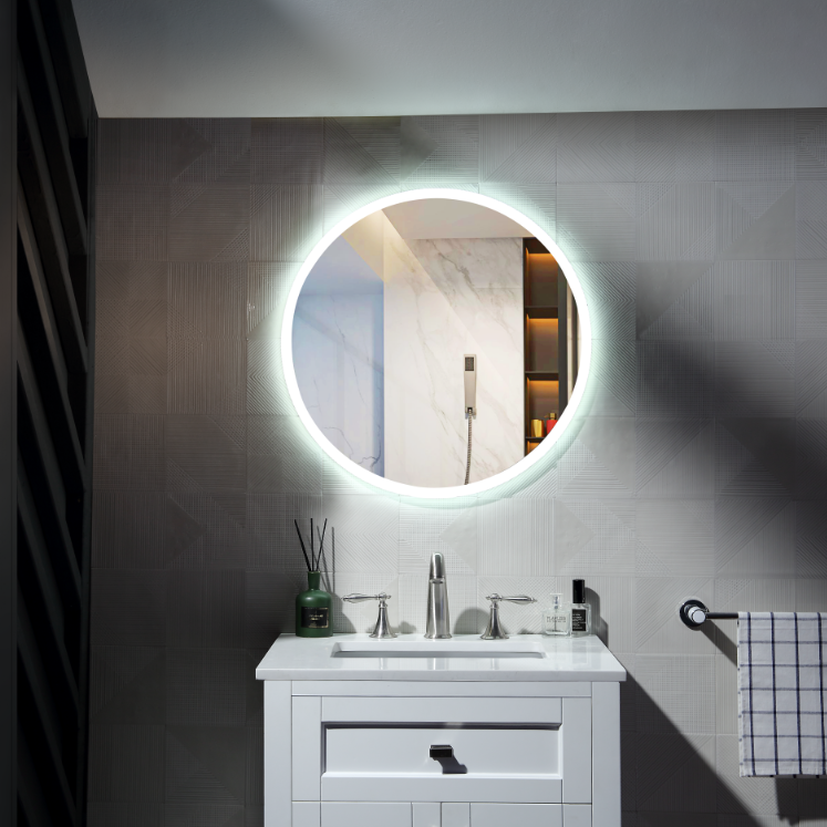 Silver bedroom decoration hotel bathroom Round mirror with led
