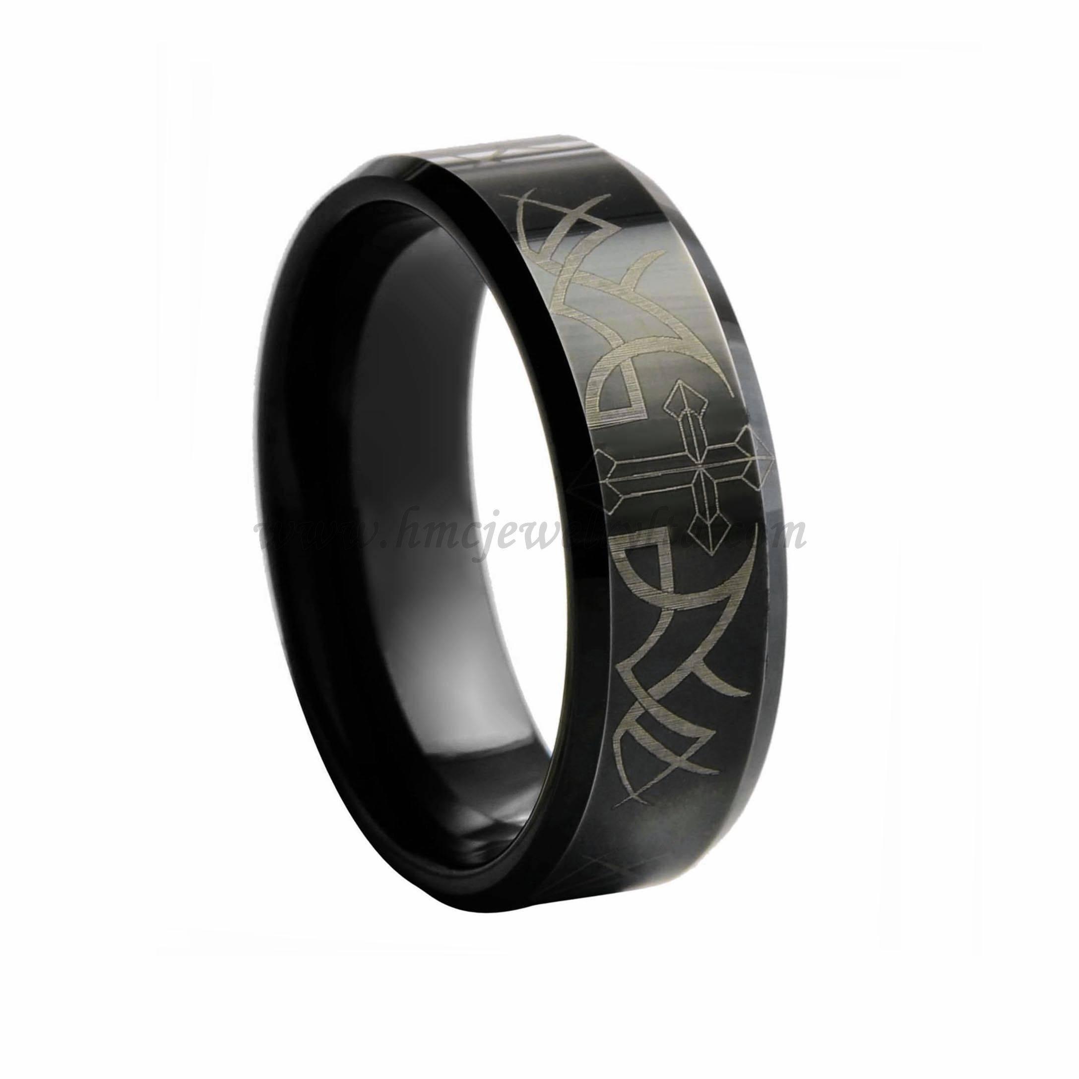 Mens Laser Cross and Thorn Ring Black Tungsten Carbide Ring Jesus Ring